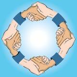 Aperto de mão circular ilustração do vetor