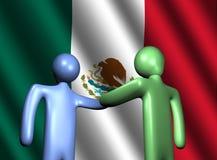 Aperto de mão com ilustração da bandeira mexicana ilustração stock