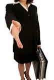 Aperto de mão da mulher de negócio Imagens de Stock Royalty Free