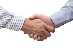 Aperto de mão de dois homens de negócios isolados no branco fotos de stock royalty free