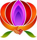 Aperto de mão de Lotus ilustração royalty free