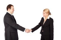 Aperto de mão do negócio do homem e da mulher Fotografia de Stock Royalty Free
