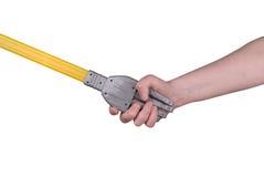 Aperto de mão do robô com mulher Imagens de Stock