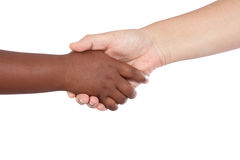Aperto de mão entre um African-American e um Caucasia Imagens de Stock
