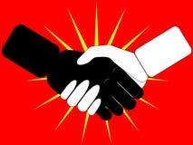 Aperto de mão no vermelho Fotografia de Stock Royalty Free