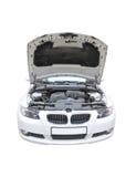 Aperto del cofano di BMW 335i isolato Fotografie Stock Libere da Diritti