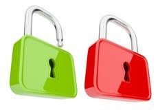 Aperto e sblocchi la serratura 3D. Isolato. Obbligazione Fotografie Stock