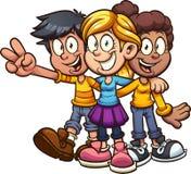 Aperto feliz dos amigos das crianças dos desenhos animados ilustração stock