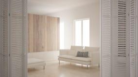 Apertura bianca sul salone minimalista scandinavo moderno, interior design bianco, concetto del progettista dell'architetto, sfuo immagine stock libera da diritti
