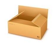 Apertura d'imballaggio del contenitore di cartone Fotografia Stock Libera da Diritti