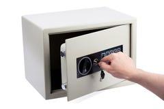 Apertura de la caja fuerte electrónica Fotografía de archivo libre de regalías
