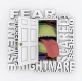 Apertura de la puerta en sus miedos Foto de archivo libre de regalías