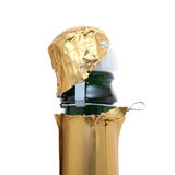 Apertura de una botella del champán Imagen de archivo libre de regalías