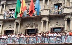 Apertura del festival de San Fermín en Pamplona Imagenes de archivo