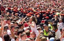 Apertura del festival de San Fermín en Pamplona Imágenes de archivo libres de regalías