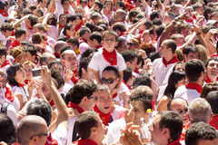 Apertura del festival del San Fermin a Pamplona Fotografia Stock