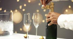 Apertura della bottiglia di Champagne Fotografia Stock Libera da Diritti