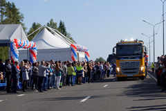 Apertura di nuovo tratto della strada principale di Novopriozersk Immagine Stock
