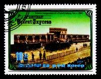 Apertura di una linea ferroviaria francese (1860), 100 anni di Oriente-Expres Immagini Stock