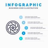 Apertura, film, logo, film, fotografii Kreskowa ikona z 5 kroków prezentacji infographics tłem ilustracji
