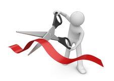 Apertura: hombre que corta la raya roja con las tijeras Foto de archivo libre de regalías