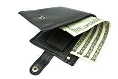 Apertura levemente de un monedero con un dinero Foto de archivo libre de regalías