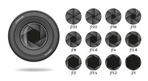 Aperture icon set with value numbers. Camera shutter lens diaphragm row. Vector illustration royalty free illustration