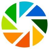 Aperture like symbol. Circular icon with lamellas Stock Image
