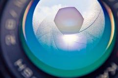 Aperture photocamera lense reflection. Photographic background stock image