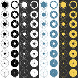 Aperture range icons set. In black and white, blue and yellow colors. Symbols for web design or manuals. Vector illustration Stock Photo