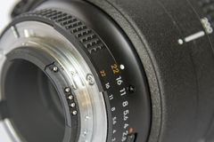 Aperture ring of camera lens Royalty Free Stock Image