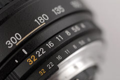 Aperture Scale. Close up of aperture scale Royalty Free Stock Photos