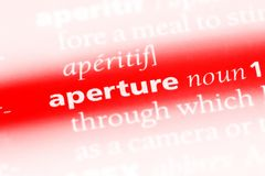 Aperture. Word in a dictionary.  concept royalty free stock images