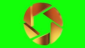 Apertury irysowej blendy logo wiruje na bielu zbiory