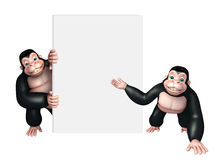 Apes collection with white board. 3d rendered illustration of Apes collection with white board Royalty Free Stock Photo