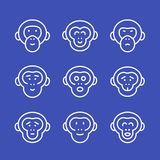 Apes line icons set Stock Photo