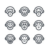 Apes, monkey, chimp linear icons over white. Eps 10 file, easy to edit Royalty Free Stock Photography