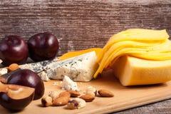 Apetizer gastrónomo del queso en fondo de madera fotografía de archivo libre de regalías