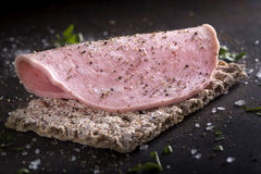 Apetizer with mortadella Royalty Free Stock Photography