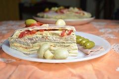 Apetyczna porcja cesarski blinu wierza zdjęcia royalty free