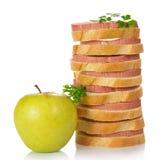 Apetyczne kanapki z kiełbasą Zdjęcia Stock