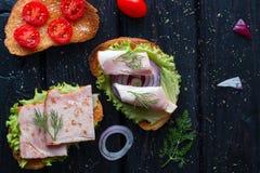Apetyczne kanapki z mięsa i warzyw pikantność Zdjęcia Royalty Free