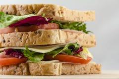 Apetycznej kanapki chlebowi pomidory sałata i baleron z bliska Obraz Stock