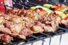 Apetyczni i soczyści plasterki mięso gotują na węglach fotografia royalty free
