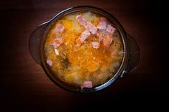 Apetyczny zupny Solyanka na ciemnym tle zdjęcia stock