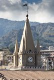 The apex of the clock tower of the Duomo de Messina Stock Photo