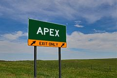 US Highway Exit Sign for Apex. Apex composite Image `EXIT ONLY` US Highway / Interstate / Motorway Sign stock images