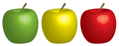 Apfel drei getrennt auf Weiß Stockfotografie