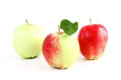 Apfel drei lokalisiert Stockfotografie