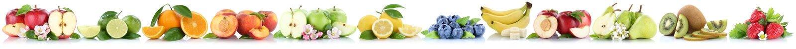 Apfel-Orangenbananen des Apfels trägt die orange Früchte in Folge, die an lokalisiert werden Lizenzfreies Stockfoto